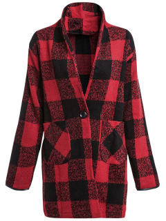 One Button Plaid Big Pocket Wool Coat - Red With Black L
