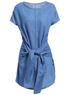 Solid Color Tied Round Neck Bat-Wing Sleeve Denim Dress - Deep Blue M