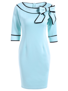 Slash Neck Bowknot Pencil Dress - Light Blue Xl