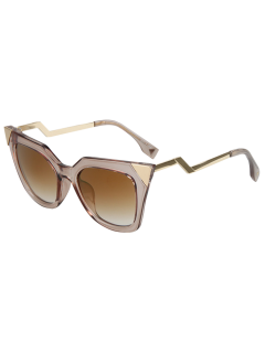 High Pointed Zigzag Leg Cat Eye Sunglasses - Brown