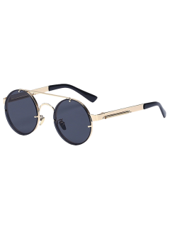 Golden Crossbar Retro Round Sunglasses - Golden