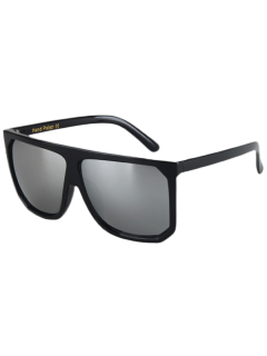 Big Quadrate Frame Black Sunglasses - Silver Gray