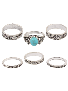Vintage Faux Turquoise Rings - Silver