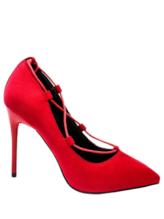 Cross-Strap And Flock Pointed Toe Pumps - Red 35