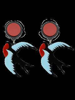Swallow Shape Drop Earrings - Red