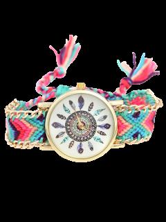 Geometric Feather Pattern Woven Watch - Purple