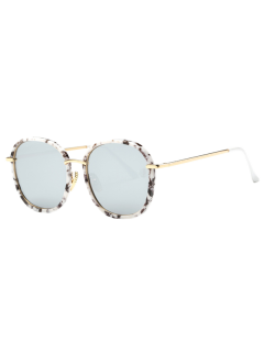 Marble Oversized Mirrored Sunglasses - White