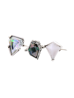 Geometric Faux Gem Ring Set - Silver
