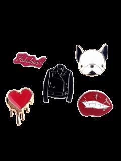 Dog Heart Lip Jacket Letters Brooch Set - Red