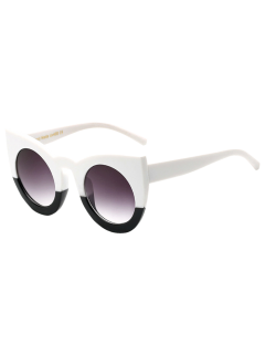 Color Block Cat Eye Sunglasses - White And Black