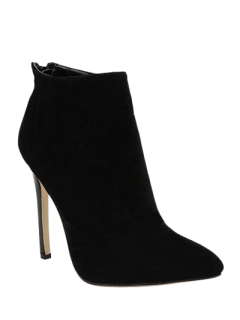 Pointed Tie Flock Zipper Ankle Boots - Black 40