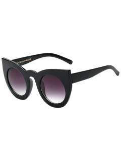 Round Lens Cat Eye Sunglasses - Black