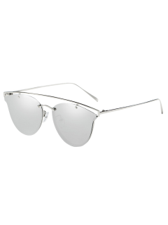 Crossbar Metal Mirrored Butterfly Sunglasses - Silver