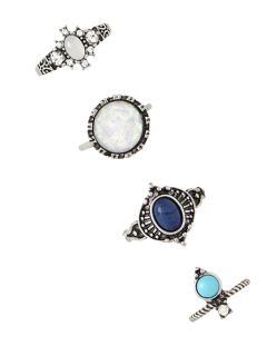 4 PCS Faux Gem Retro Rings - Silver