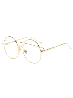 Transparent Lens Crossover Round Sunglasses - Golden