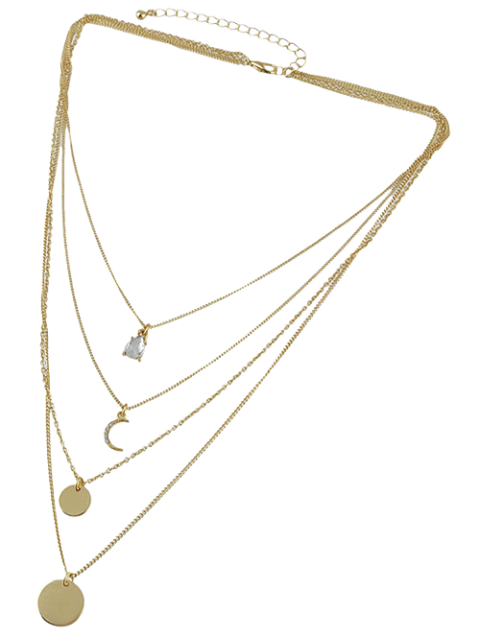 hot Rhinestone Moon Multilayered Necklace - GOLDEN  Mobile