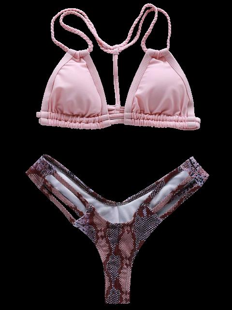 trendy Printed Braided Halter Bikini Set - PINK S Mobile