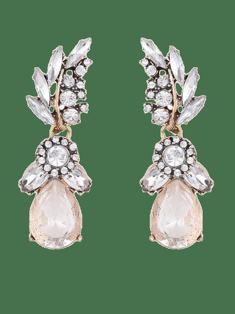 best Water Drop Leaf Rhinestone Earrings - WHITE  Mobile