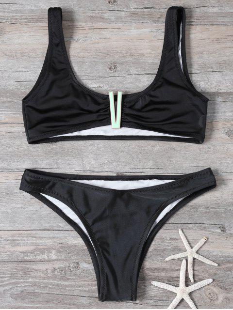 chic Cropped Patched Bikini Set - BLACK S Mobile