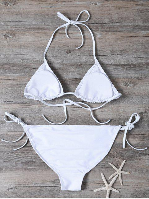 women Patched String Bikini Set - WHITE L Mobile