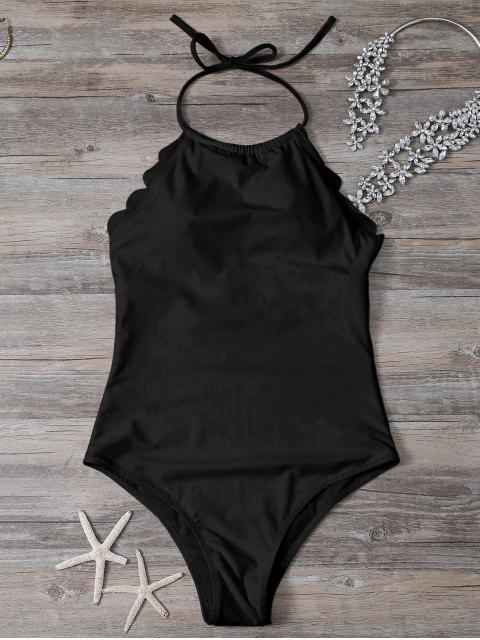 shops Scalloped High Neck Swimwear - BLACK M Mobile