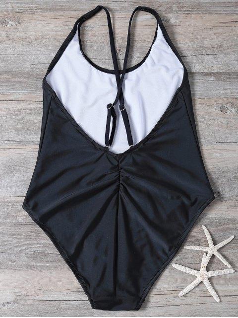unique Crosscriss Embroidered Swimwear - BLACK S Mobile