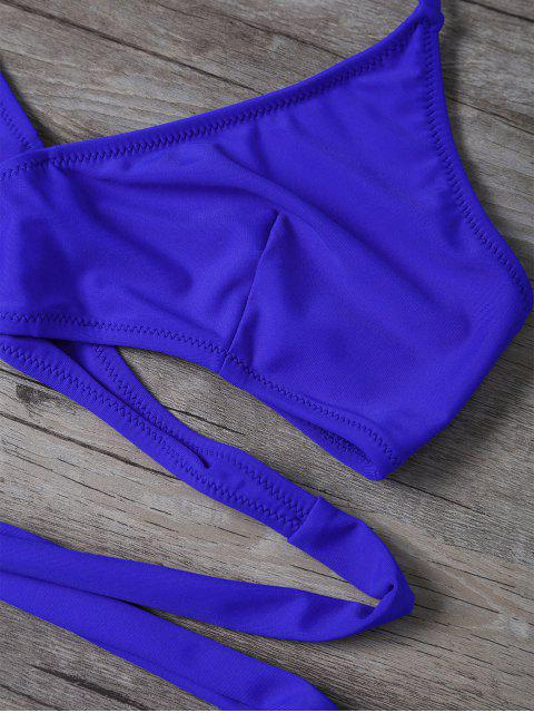 new Wrap String Bralette Swimsuits - BLUE L Mobile
