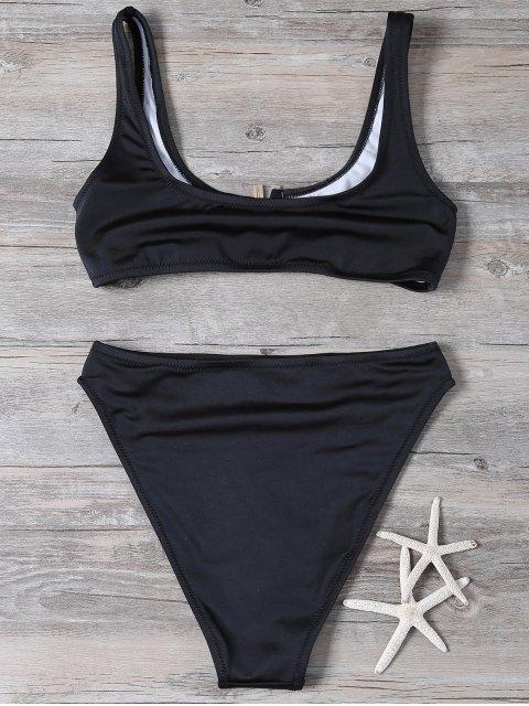 outfits Patched High Waisted Bikini Set - BLACK L Mobile