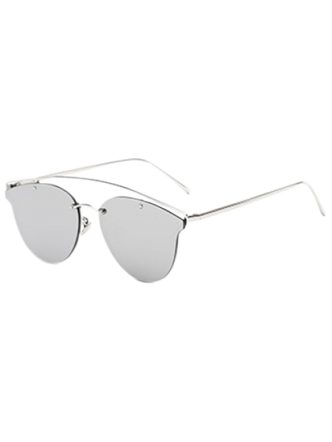 unique Crossbar Mirrored Butterfly Sunglasses - SILVER  Mobile