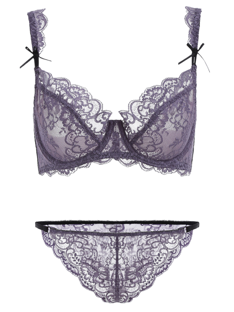 women's Bowknot Scalloped Lace Bra Set - PURPLE 90D Mobile