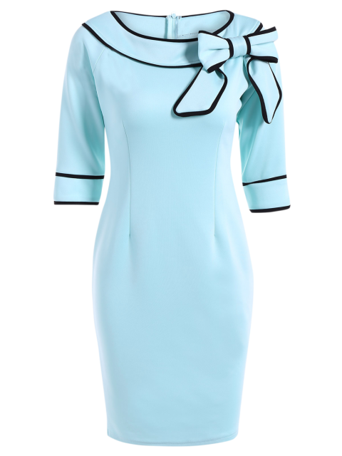 Slash Neck bowknot Robe crayon - Bleu clair XL Mobile