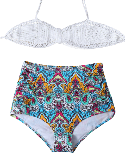 latest High Waisted Printed Multiway Bikini - MULTICOLOR M Mobile