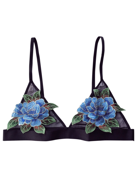 unique Floral Applique Mesh Plunge Bra - BLACK 80C Mobile