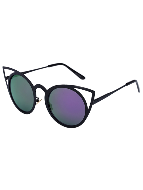 women Black Charming Cat Eye Mirrored Sunglasses - PURPLE  Mobile