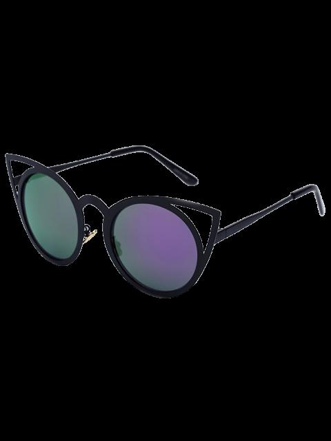 women Black Charming Cat Eye Mirrored Sunglasses - PURPLE  Mobile