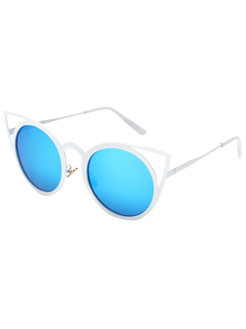 new Cut Out White Cat Eye Mirrored Sunglasses -   Mobile