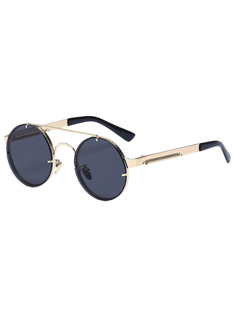 women's Golden Crossbar Retro Round Sunglasses - GOLDEN  Mobile