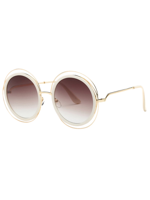 outfit Cut Out Round Sunglasses - TEA-COLORED  Mobile