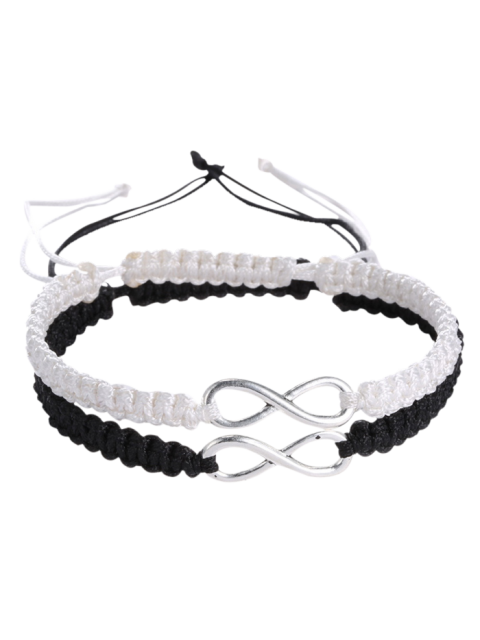 trendy Infinity Woven Bracelets - WHITE AND BLACK  Mobile