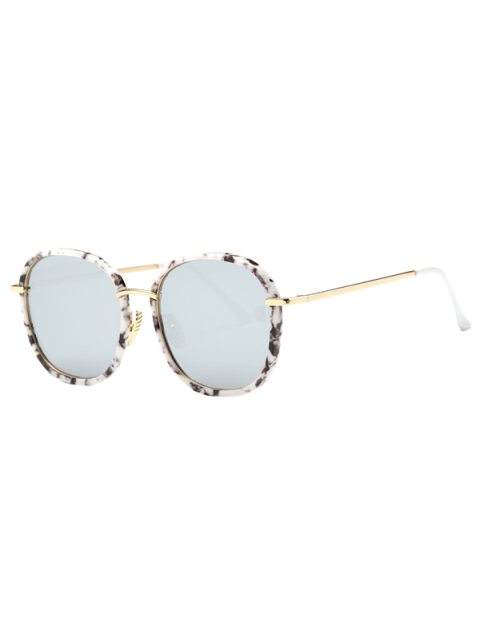 buy Marble Oversized Mirrored Sunglasses - WHITE  Mobile