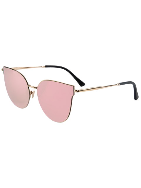 fashion Street Fashion Golden-Rim Cat Eye Sunglasses - PINK  Mobile