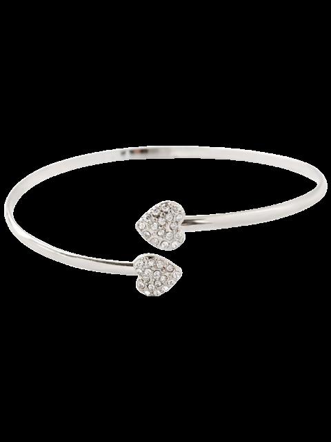 women's Rhinestone Heart Bracelet - SILVER  Mobile