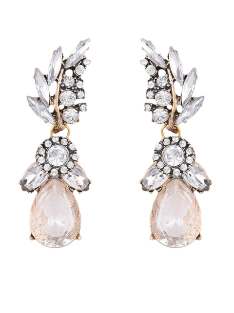 Pendientes Diseño Gota De Agua Hoja Imitación Diamantes - Blanco  Mobile