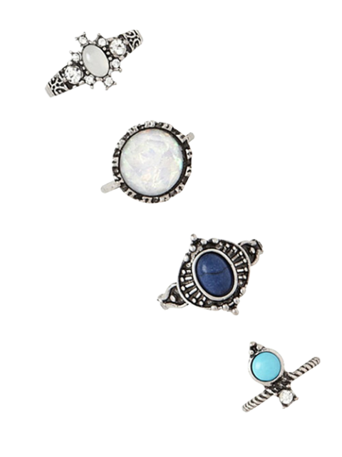 chic 4 PCS Faux Gem Retro Rings - SILVER  Mobile