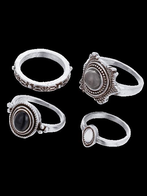 fancy Fake Gem Embossed Rings -   Mobile