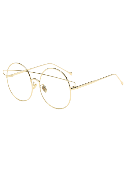 fancy Transparent Lens Crossover Round Sunglasses - GOLDEN  Mobile