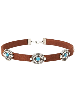 Faux Leather Blossom Choker - Brown