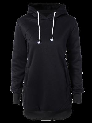 Long Sleeve Drawstring Hoodie Dress - Black L