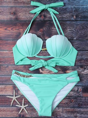 Mermaid Shell Halter Bikini - Green L