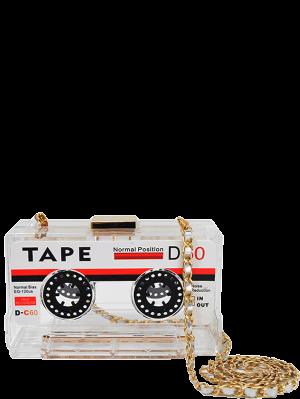Chains Cassette Shaped Evening Bag